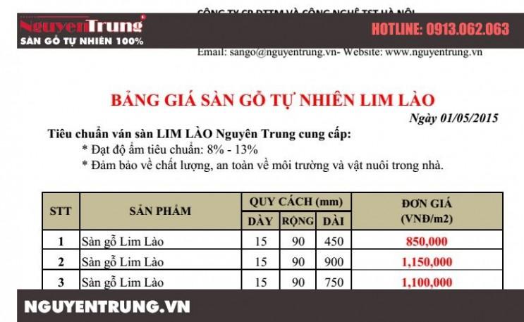 Bảng báo giá sàn gỗ Lim Lào