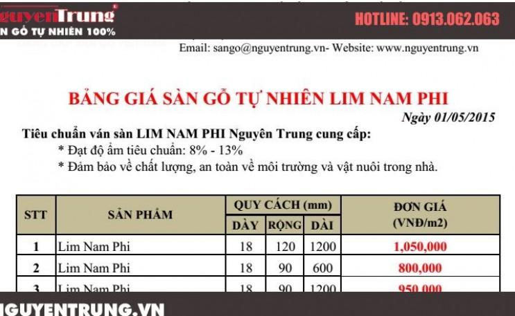 Bảng báo giá sàn gỗ Lim Nam Phi