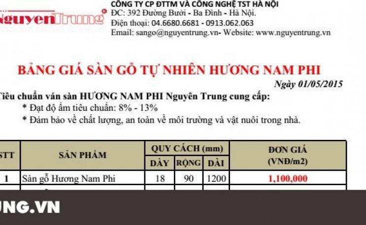 Bảng báo giá sàn gỗ Hương Nam Phi