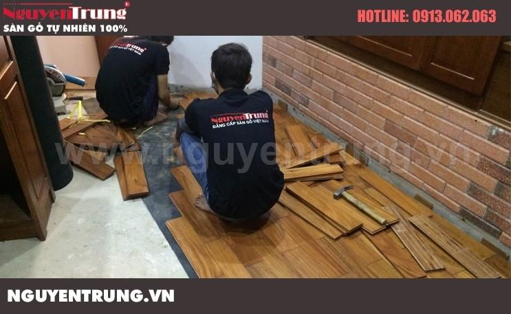 Thi công sàn gỗ tự nhiên Sàn gỗ Căm Xe tại Hà Nội