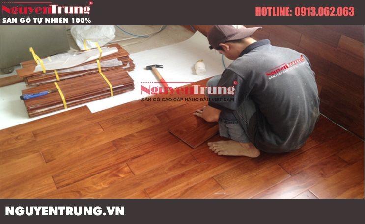 Thi công sàn gỗ Căm Xe tại Thụy Khuê Hà Nội