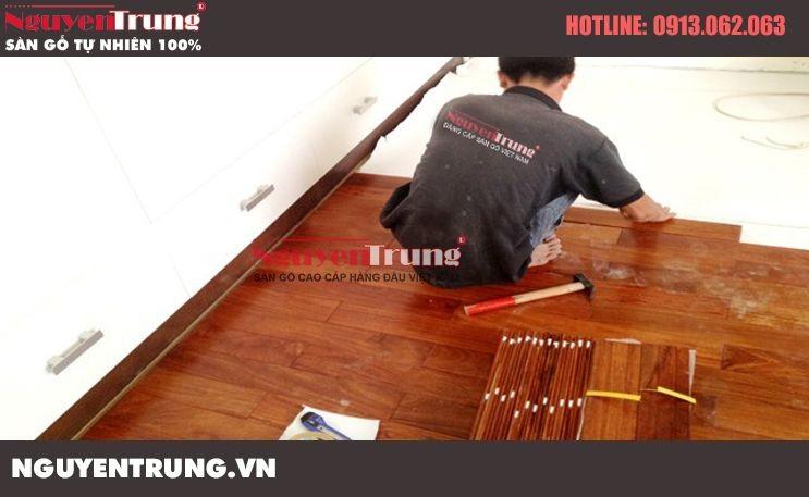 Thi công sàn gỗ Căm Xe tại Trung Yên – Hà Nội