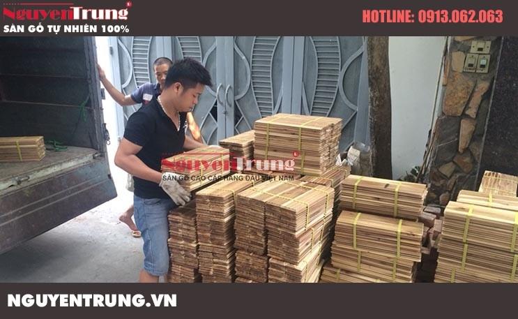 Thi công Sàn gỗ Keo tràm Lào tại An Dương Hà Nội