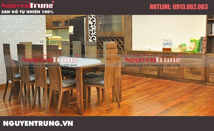 Thi công sàn gỗ Giáng Hương tại chung cư cao cấp Mandarin Garden