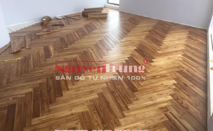 Công trình Sàn gỗ Teak Lào Xương cá Tại Hà Nội
