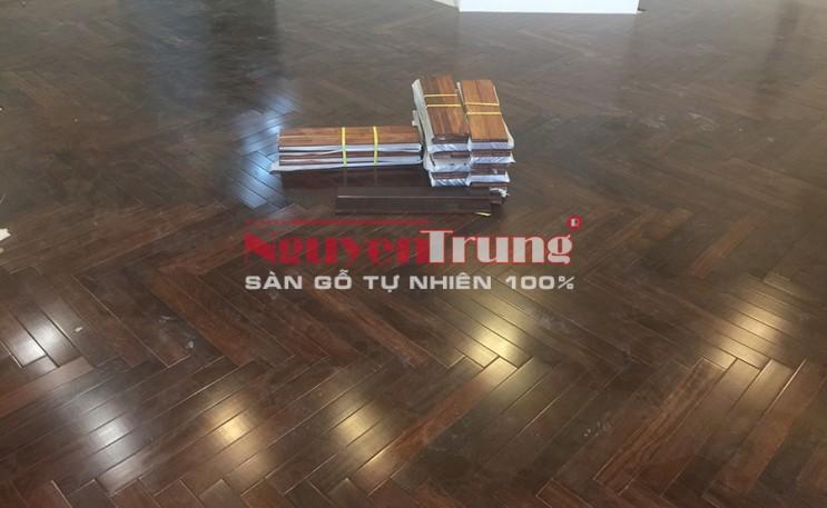Dự án công trình sàn gỗ căm xe xương cá sơn màu óc chó
